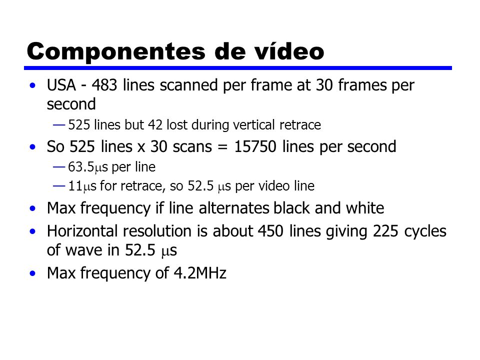 Componentes de vídeo USA - 483 lines scanned per frame at 30 frames per second. 525 lines but 42 lost during vertical retrace.