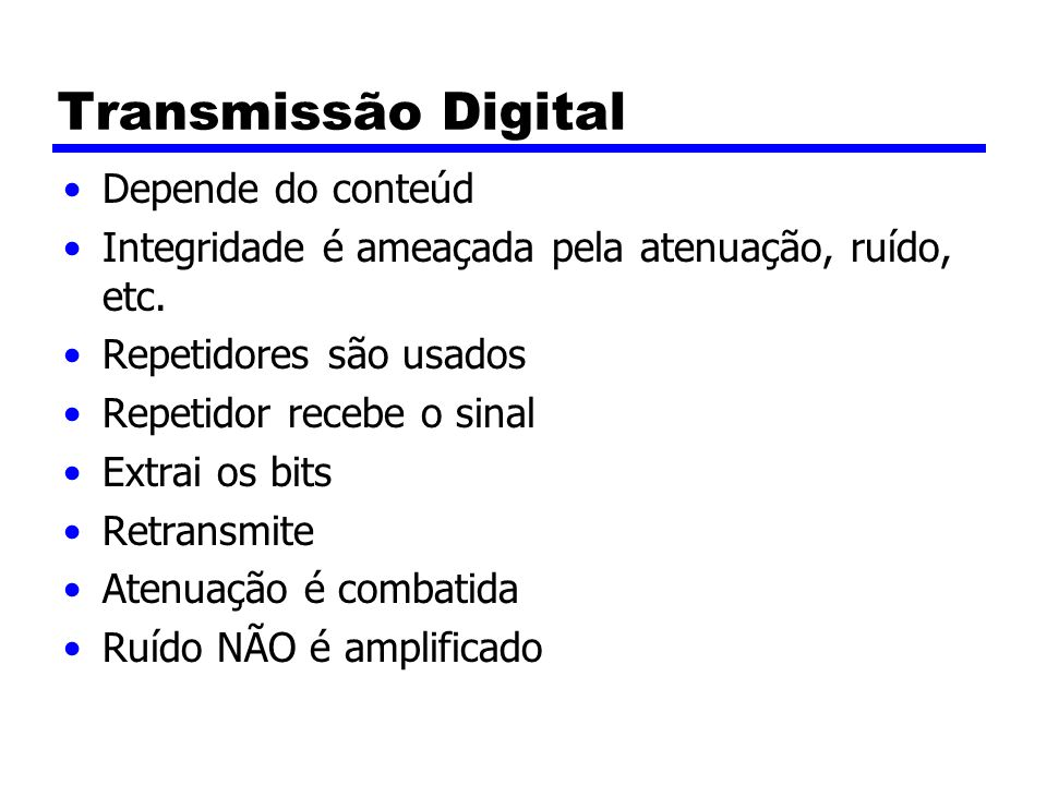 Transmissão Digital Depende do conteúd