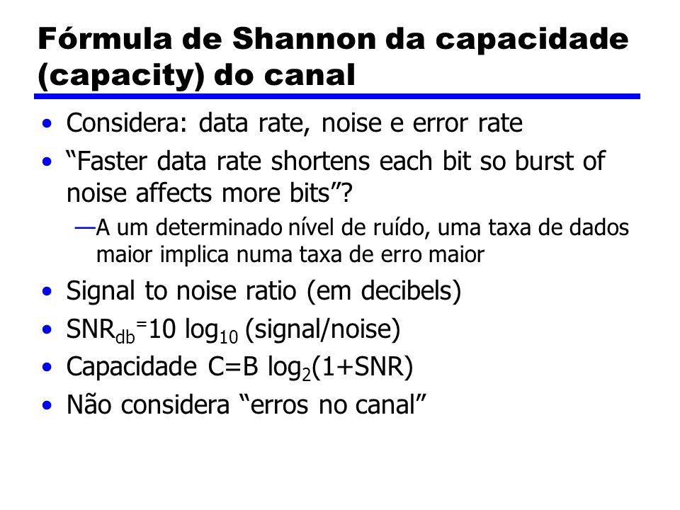 Fórmula de Shannon da capacidade (capacity) do canal