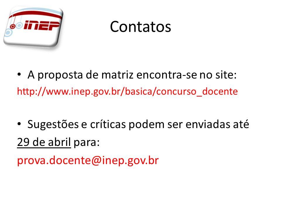Contatos A proposta de matriz encontra-se no site: