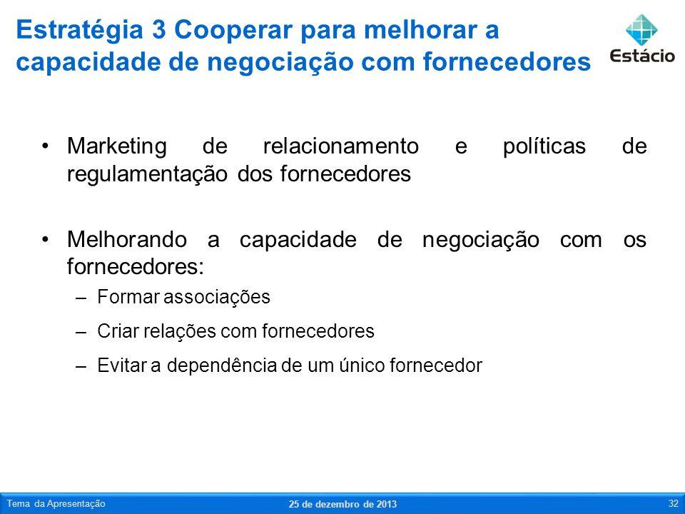 Estratégia 3 Cooperar para melhorar a capacidade de negociação com fornecedores
