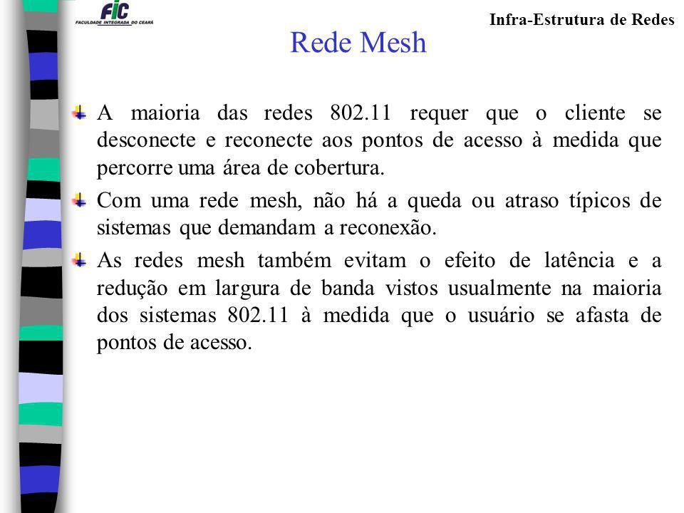 Rede Mesh A maioria das redes 802.11 requer que o cliente se desconecte e reconecte aos pontos de acesso à medida que percorre uma área de cobertura.