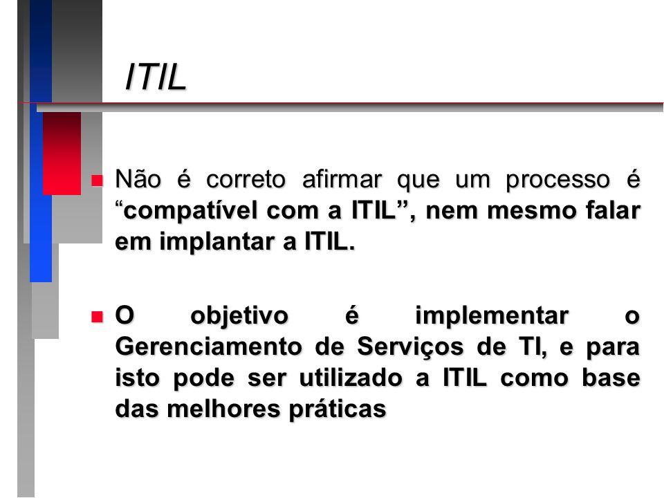 ITILNão é correto afirmar que um processo é compatível com a ITIL , nem mesmo falar em implantar a ITIL.