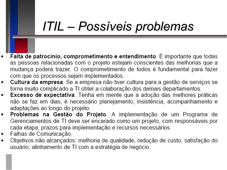 ITIL – Possíveis problemas