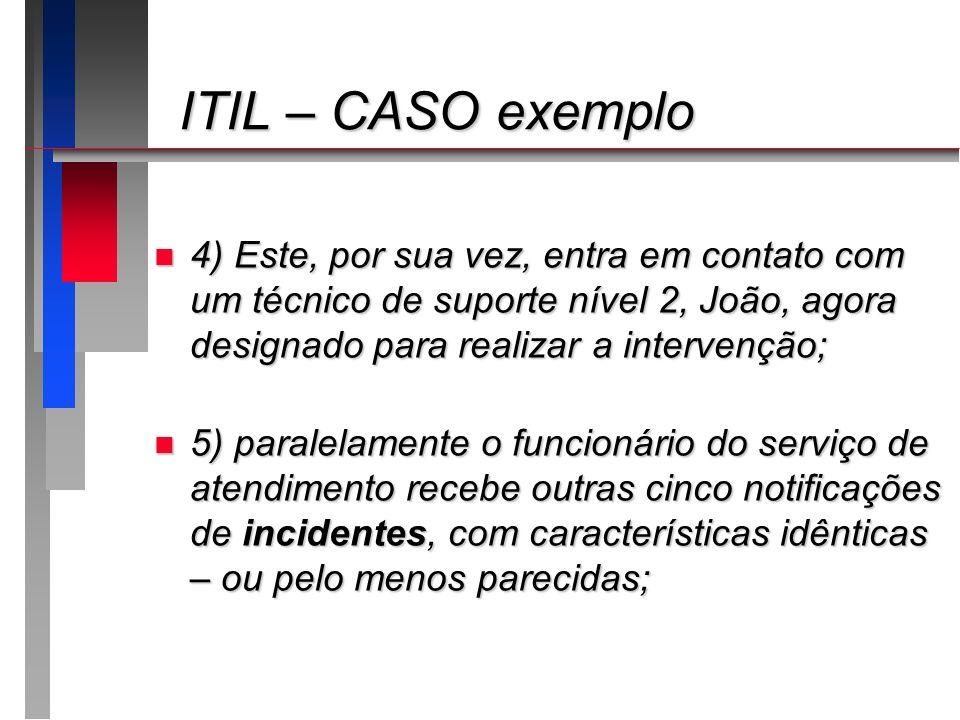 ITIL – CASO exemplo4) Este, por sua vez, entra em contato com um técnico de suporte nível 2, João, agora designado para realizar a intervenção;