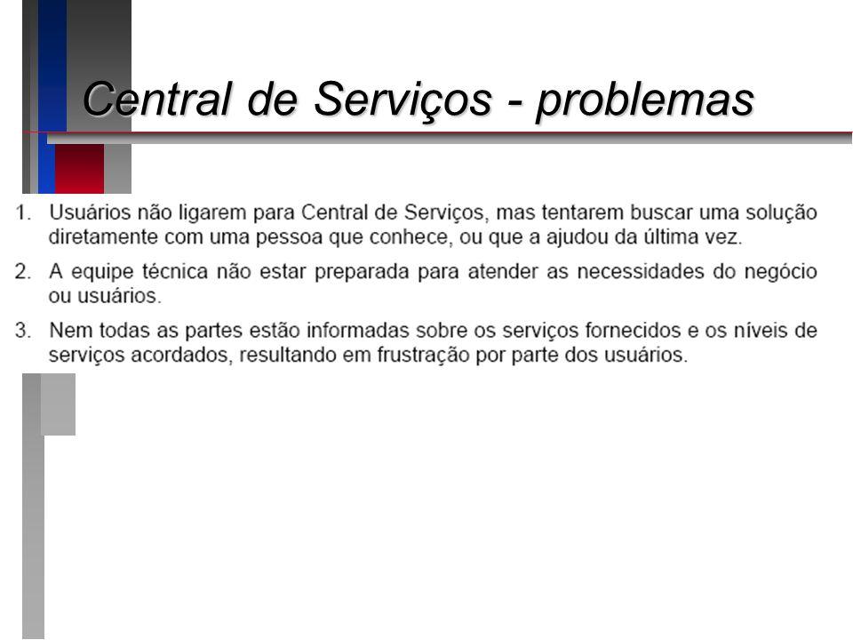Central de Serviços - problemas
