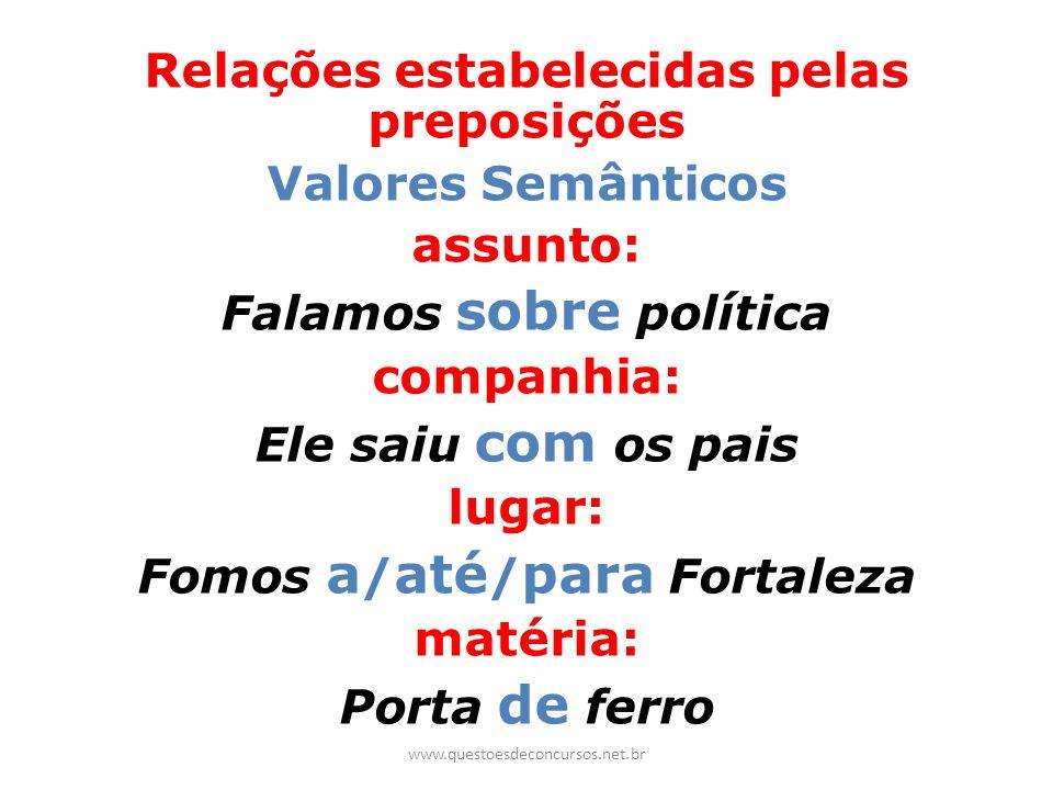 Relações estabelecidas pelas preposições Valores Semânticos assunto: