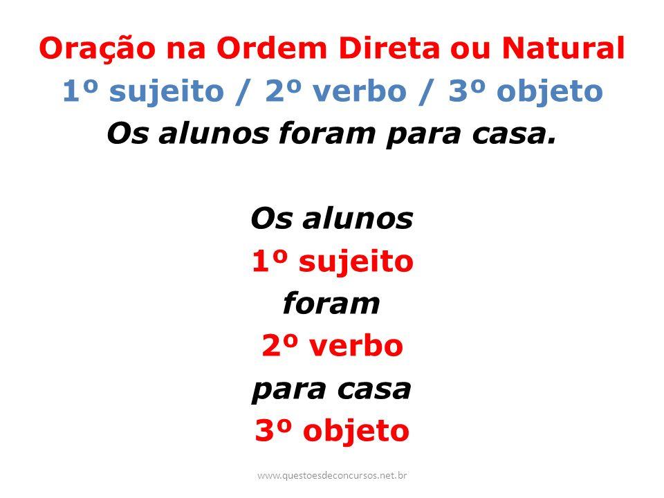 Oração na Ordem Direta ou Natural 1º sujeito / 2º verbo / 3º objeto