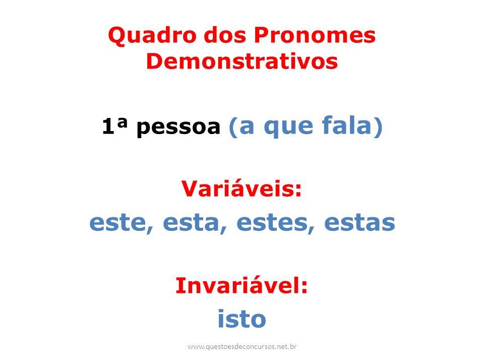 Quadro dos Pronomes Demonstrativos