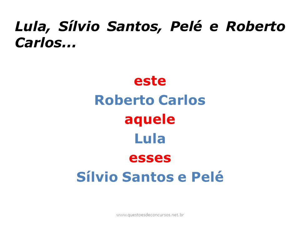 este Roberto Carlos aquele Lula esses Sílvio Santos e Pelé