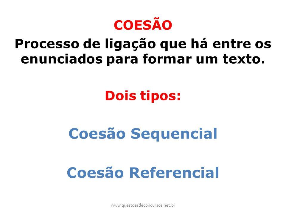 Processo de ligação que há entre os enunciados para formar um texto.