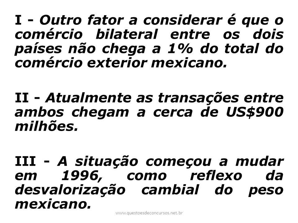 I - Outro fator a considerar é que o comércio bilateral entre os dois países não chega a 1% do total do comércio exterior mexicano.