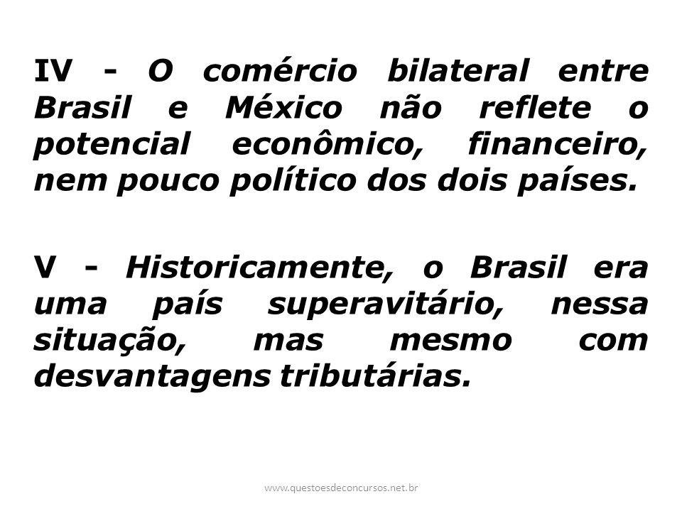 IV - O comércio bilateral entre Brasil e México não reflete o potencial econômico, financeiro, nem pouco político dos dois países.