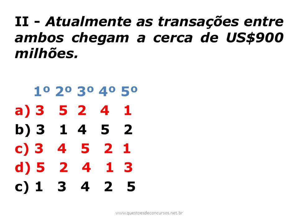 II - Atualmente as transações entre ambos chegam a cerca de US$900 milhões.