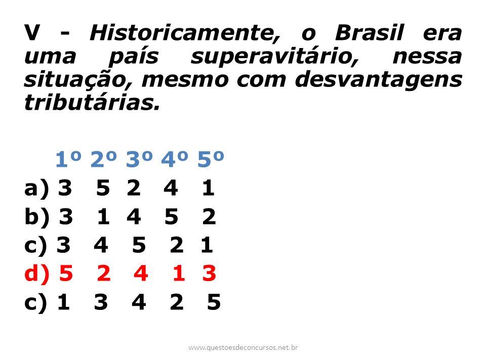 V - Historicamente, o Brasil era uma país superavitário, nessa situação, mesmo com desvantagens tributárias.