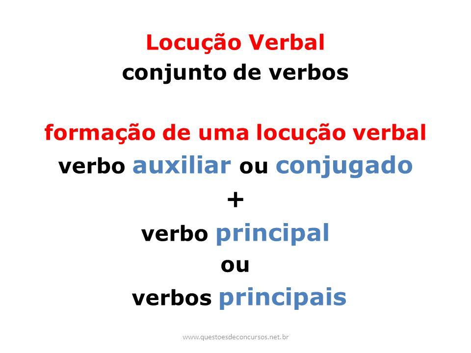 formação de uma locução verbal verbo auxiliar ou conjugado