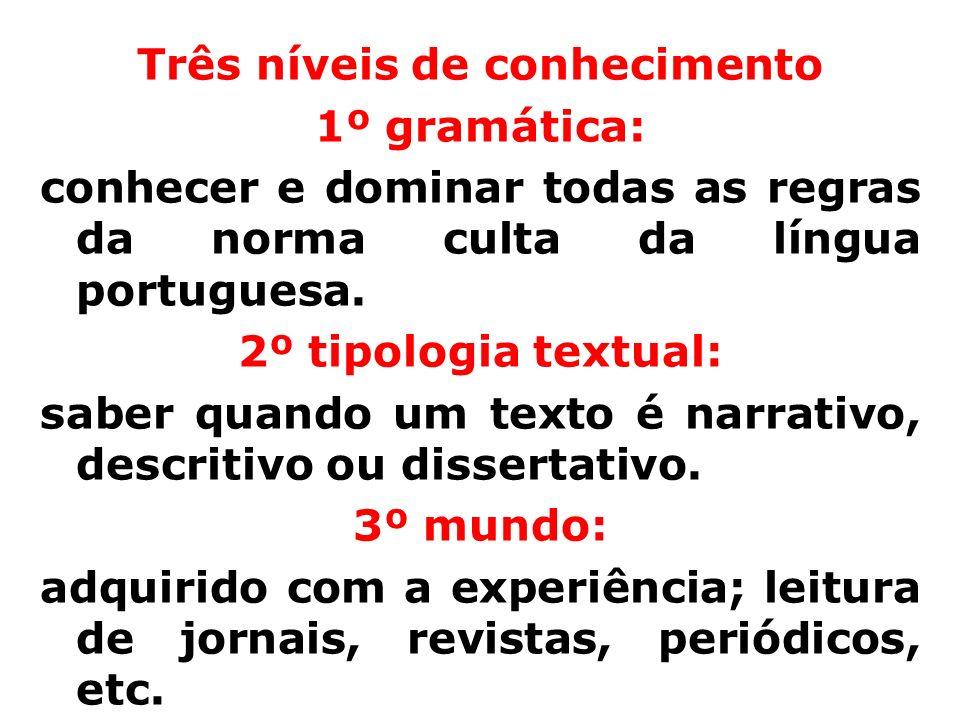 Três níveis de conhecimento 1º gramática: conhecer e dominar todas as regras da norma culta da língua portuguesa.