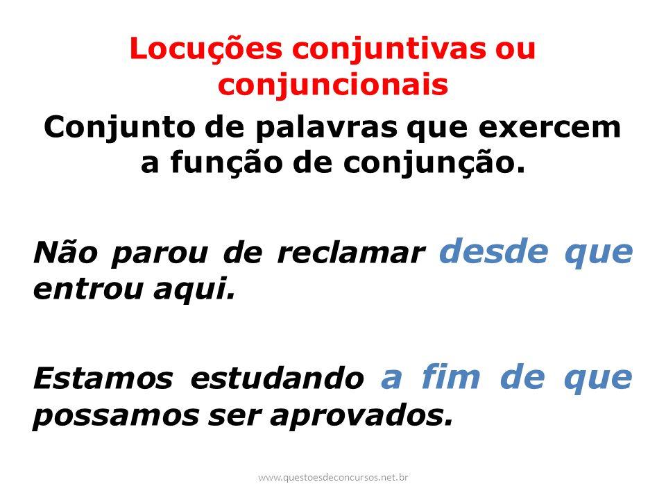Locuções conjuntivas ou conjuncionais