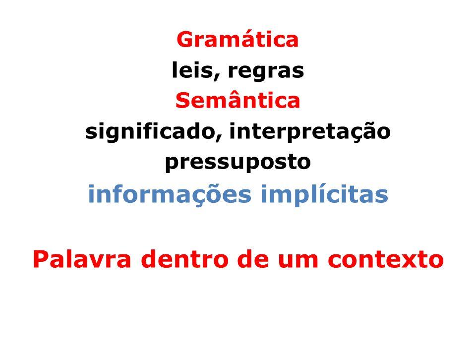 informações implícitas Palavra dentro de um contexto