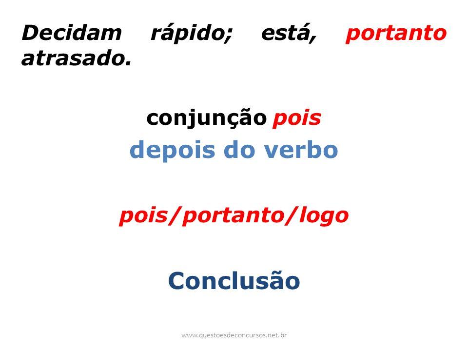 depois do verbo Conclusão