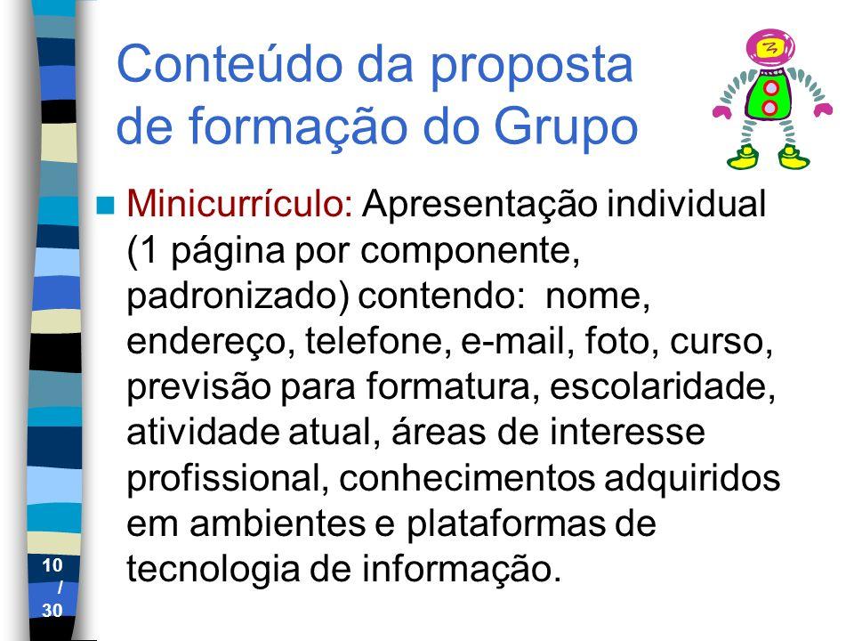 Conteúdo da proposta de formação do Grupo