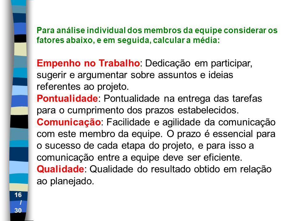 Qualidade: Qualidade do resultado obtido em relação ao planejado.