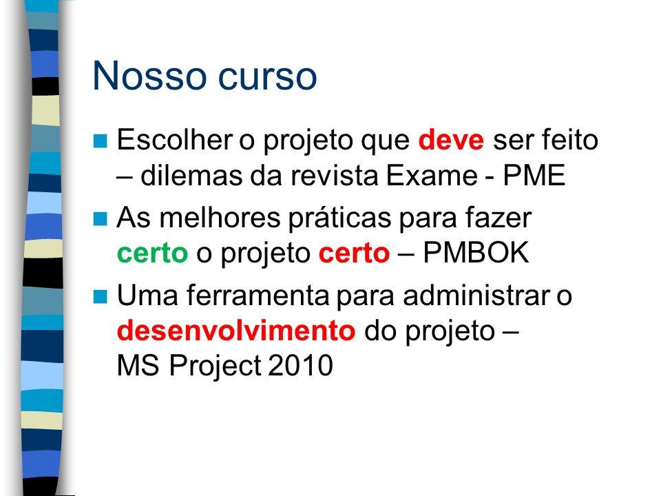 Nosso curso Escolher o projeto que deve ser feito – dilemas da revista Exame - PME. As melhores práticas para fazer certo o projeto certo – PMBOK.