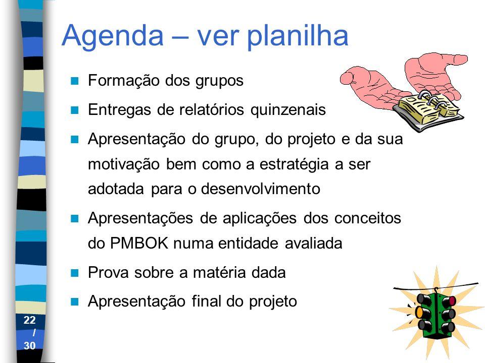 Agenda – ver planilha Formação dos grupos