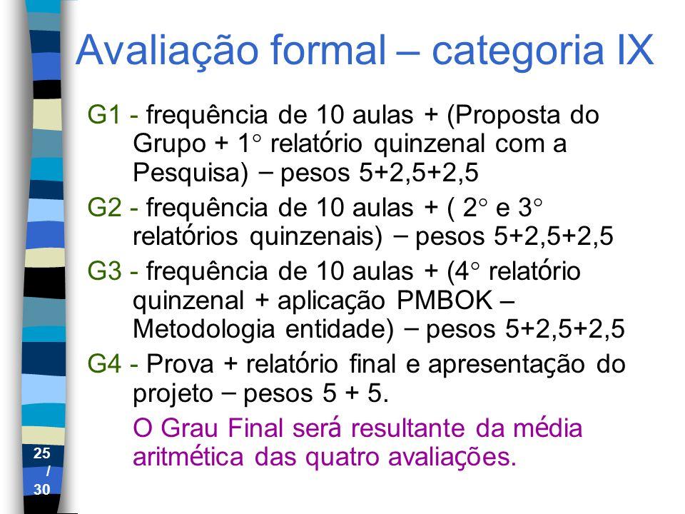 Avaliação formal – categoria IX