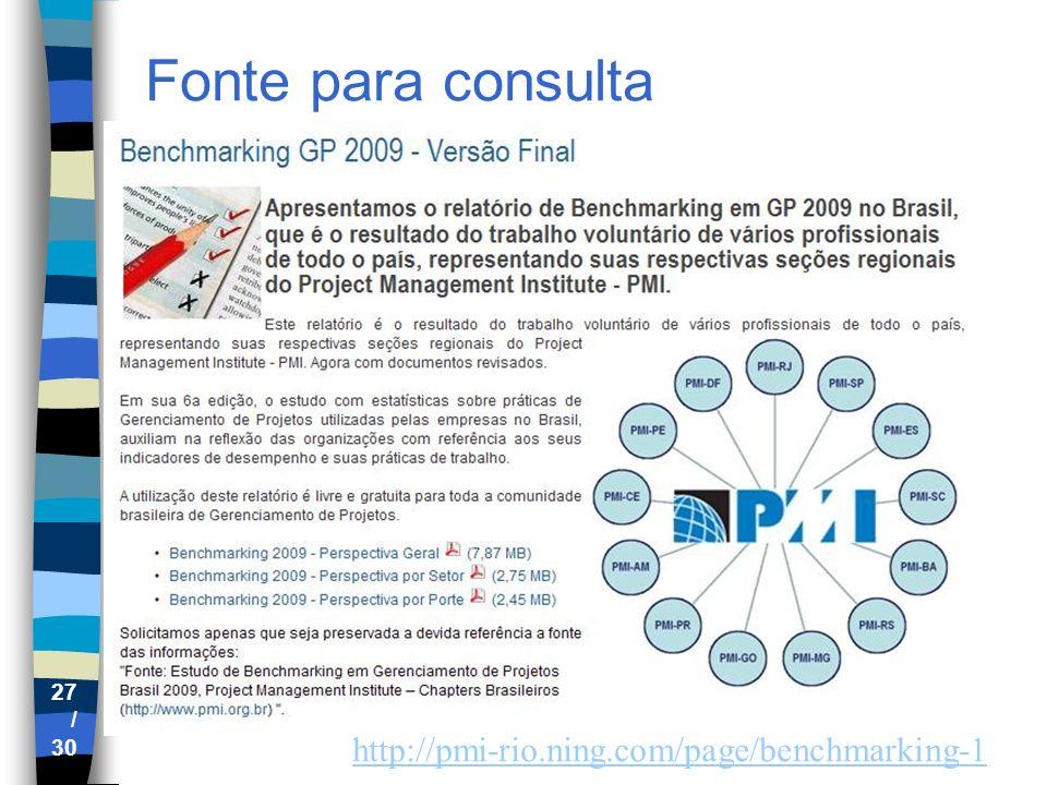 Fonte para consulta http://pmi-rio.ning.com/page/benchmarking-1