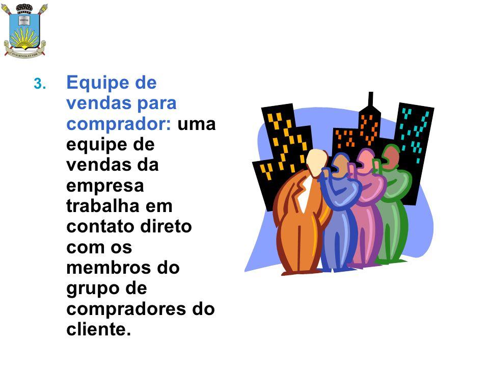 Equipe de vendas para comprador: uma equipe de vendas da empresa trabalha em contato direto com os membros do grupo de compradores do cliente.