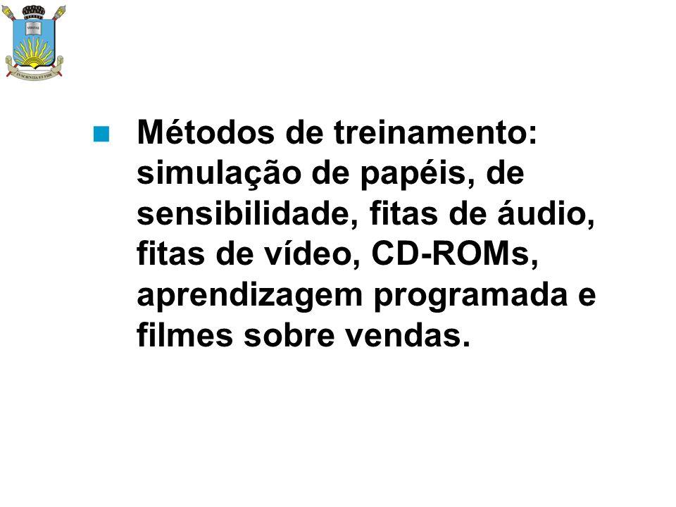Métodos de treinamento: simulação de papéis, de sensibilidade, fitas de áudio, fitas de vídeo, CD-ROMs, aprendizagem programada e filmes sobre vendas.