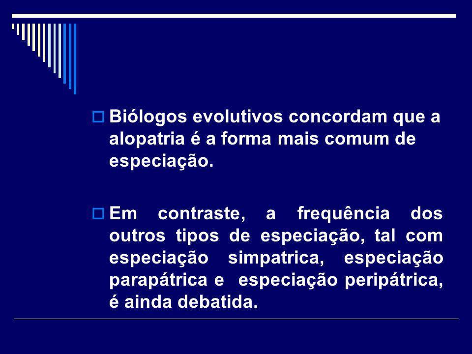 Biólogos evolutivos concordam que a alopatria é a forma mais comum de especiação.