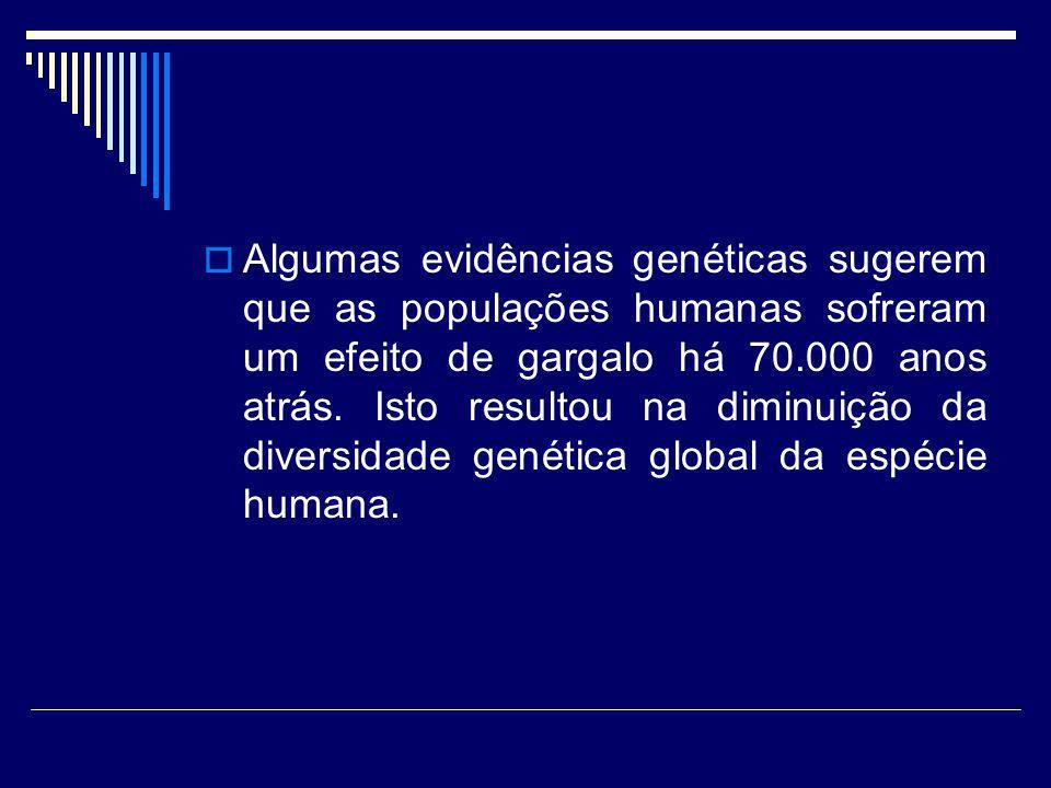 Algumas evidências genéticas sugerem que as populações humanas sofreram um efeito de gargalo há 70.000 anos atrás.