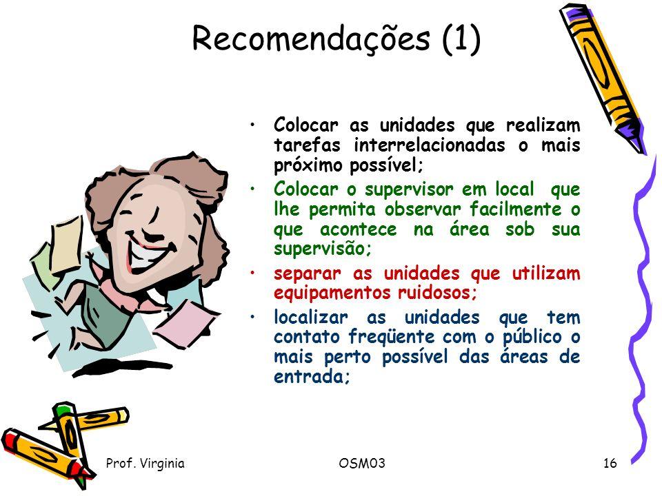 Recomendações (1) Colocar as unidades que realizam tarefas interrelacionadas o mais próximo possível;