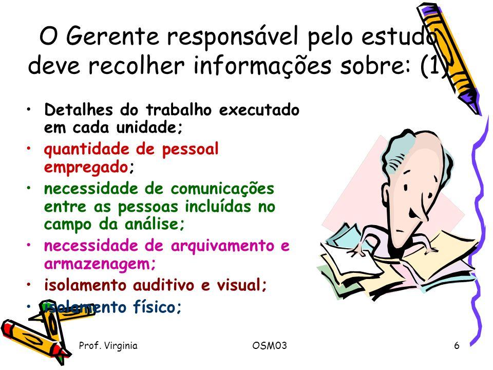 O Gerente responsável pelo estudo deve recolher informações sobre: (1)