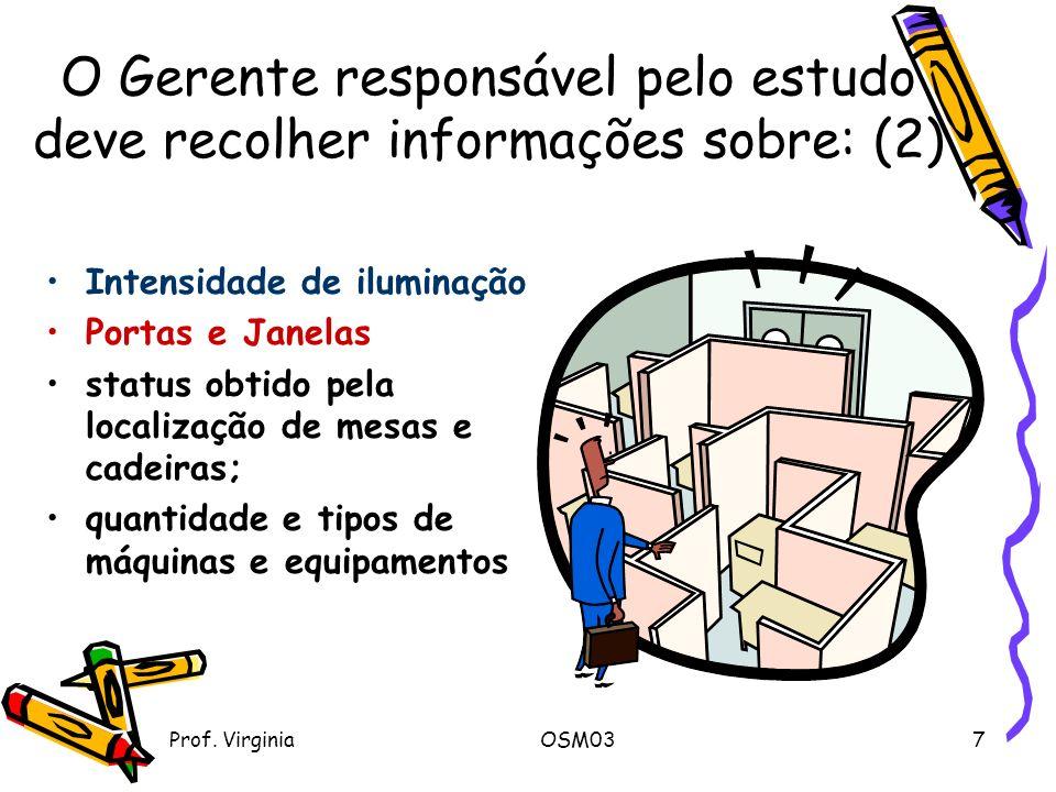 O Gerente responsável pelo estudo deve recolher informações sobre: (2)