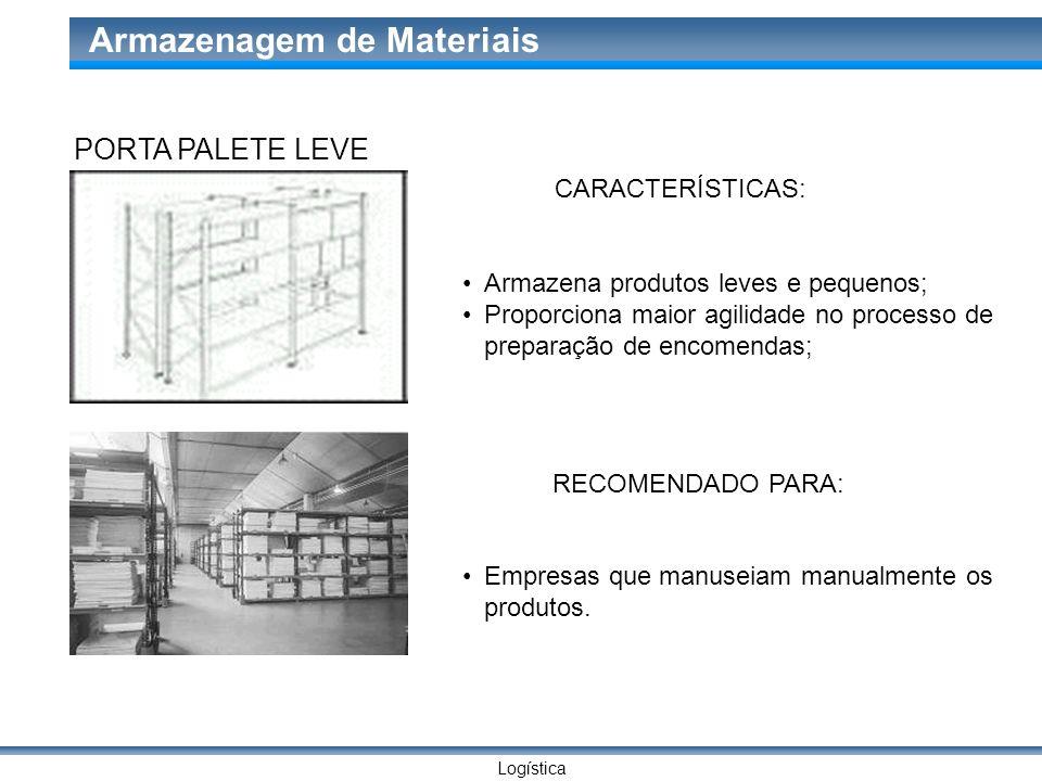 PORTA PALETE LEVE CARACTERÍSTICAS: Armazena produtos leves e pequenos;