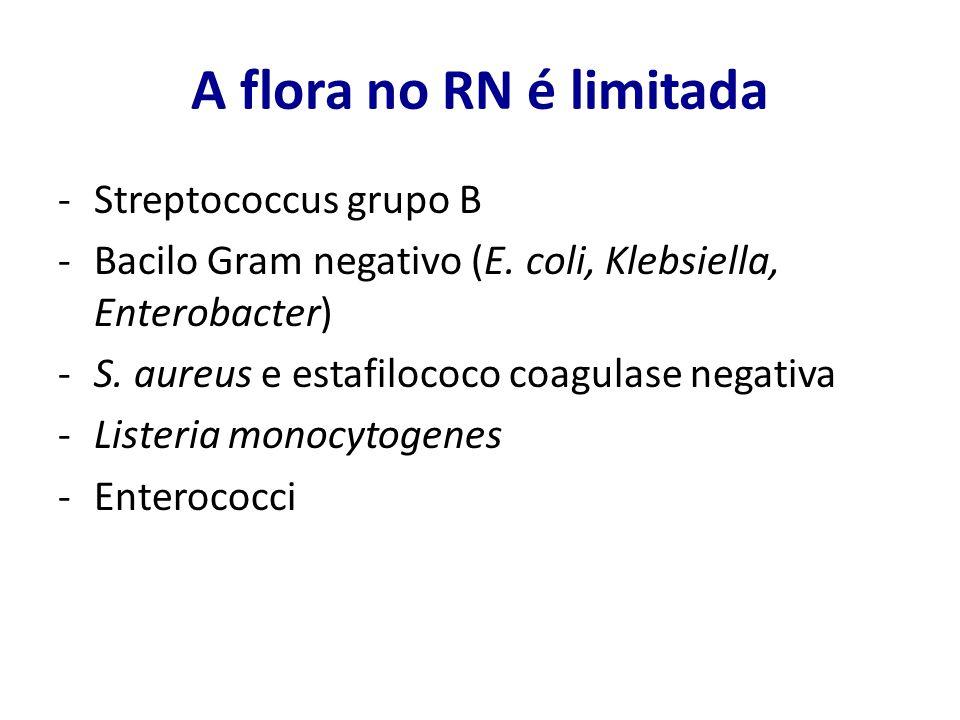 A flora no RN é limitada Streptococcus grupo B