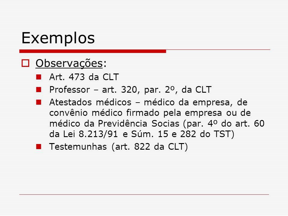 Exemplos Observações: Art. 473 da CLT