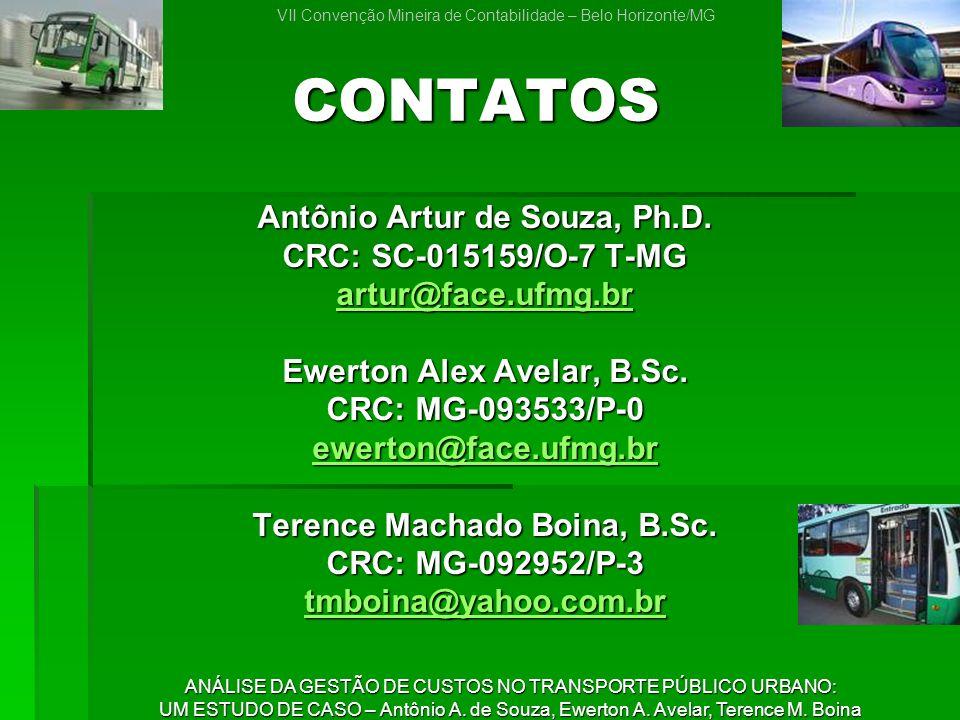 CONTATOS Antônio Artur de Souza, Ph.D. CRC: SC-015159/O-7 T-MG