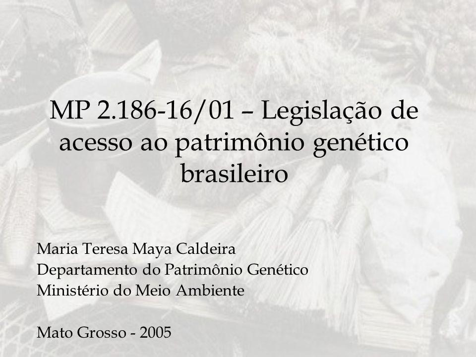 MP 2.186-16/01 – Legislação de acesso ao patrimônio genético brasileiro