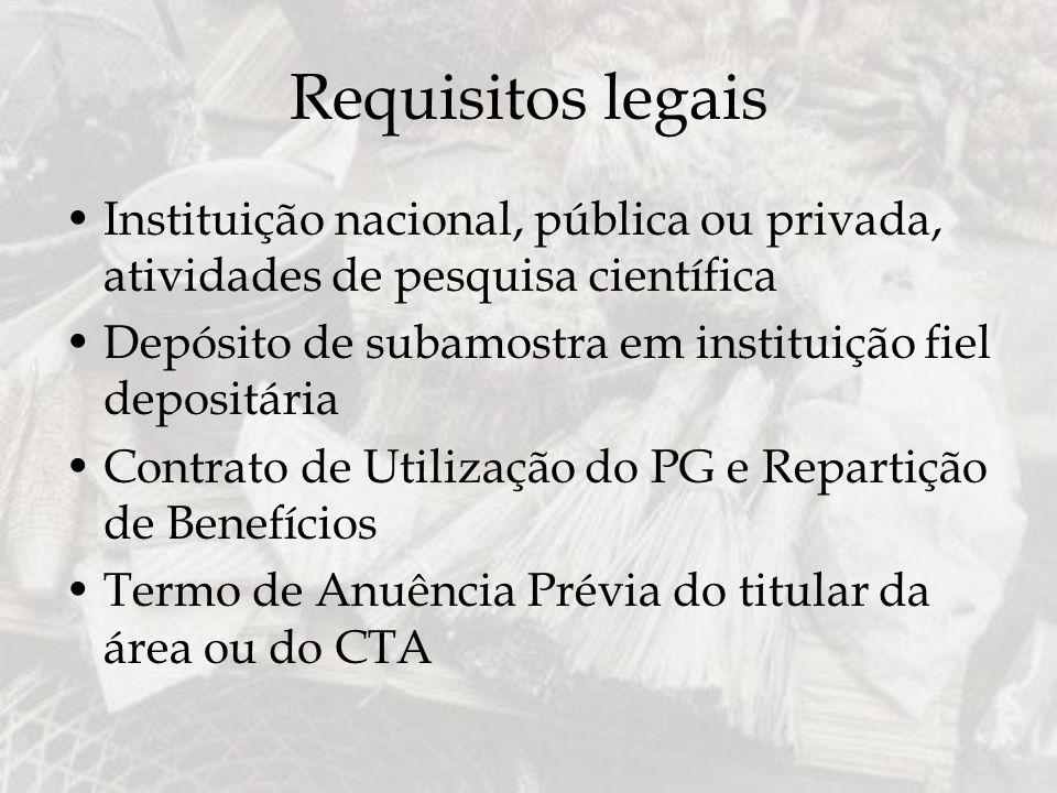Requisitos legais Instituição nacional, pública ou privada, atividades de pesquisa científica.