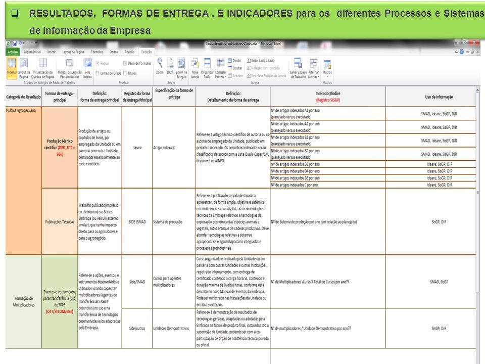 RESULTADOS, FORMAS DE ENTREGA , E INDICADORES para os diferentes Processos e Sistemas de Informação da Empresa