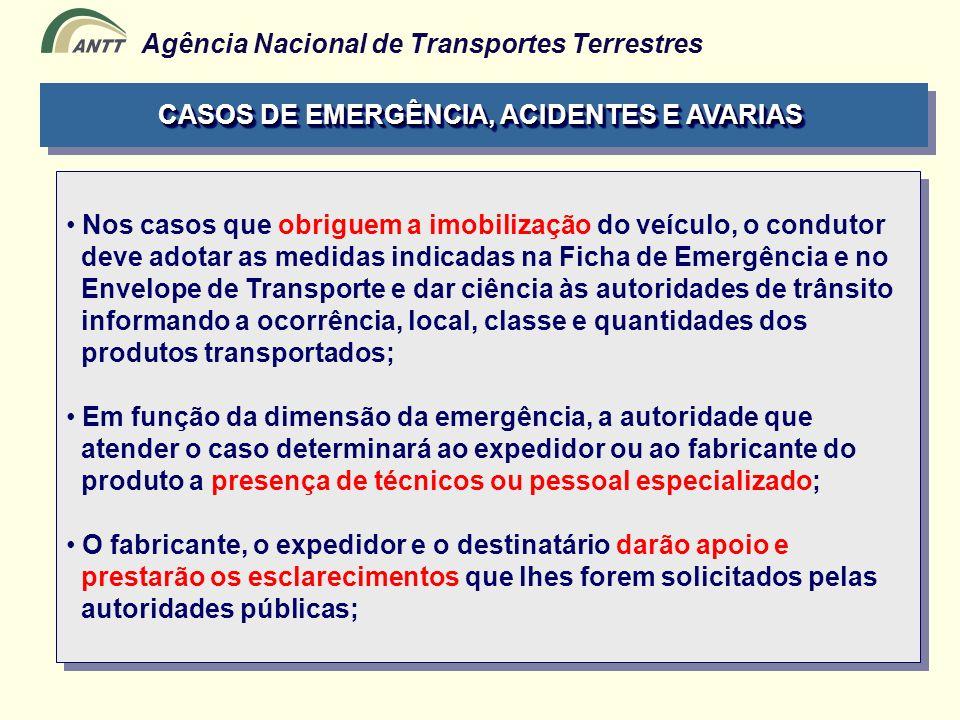 CASOS DE EMERGÊNCIA, ACIDENTES E AVARIAS