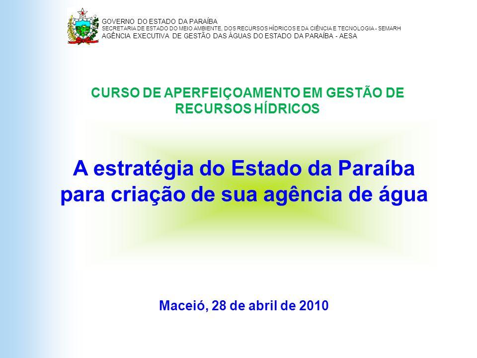 A estratégia do Estado da Paraíba para criação de sua agência de água