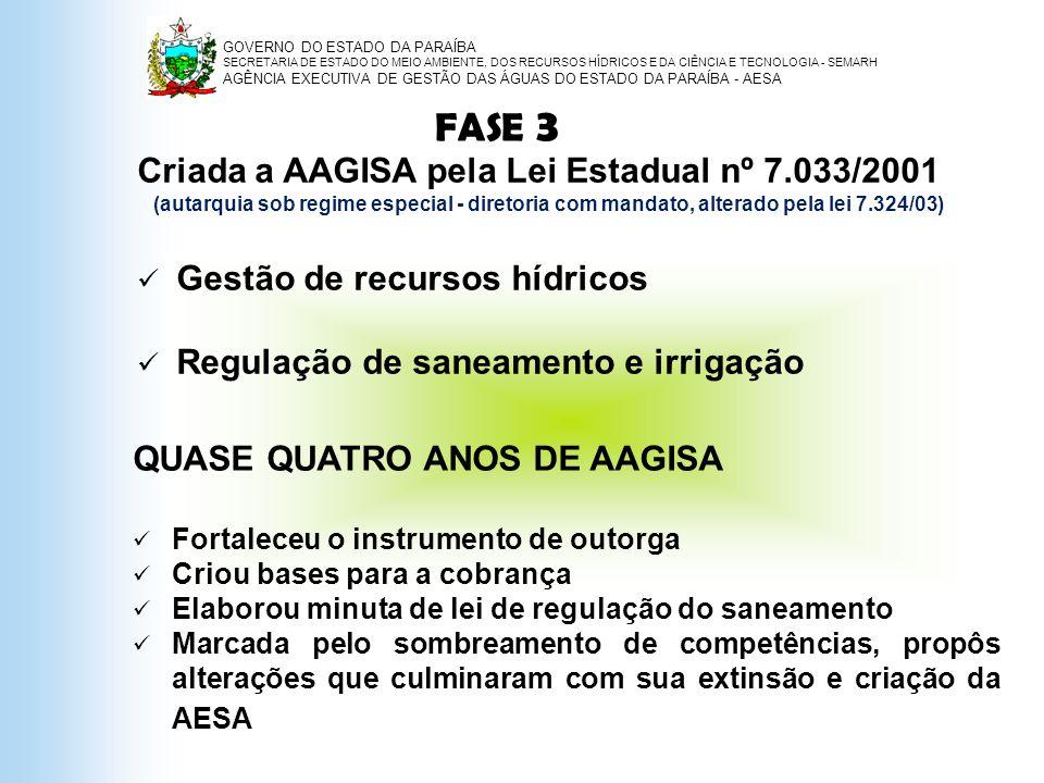 FASE 3 Criada a AAGISA pela Lei Estadual nº 7.033/2001