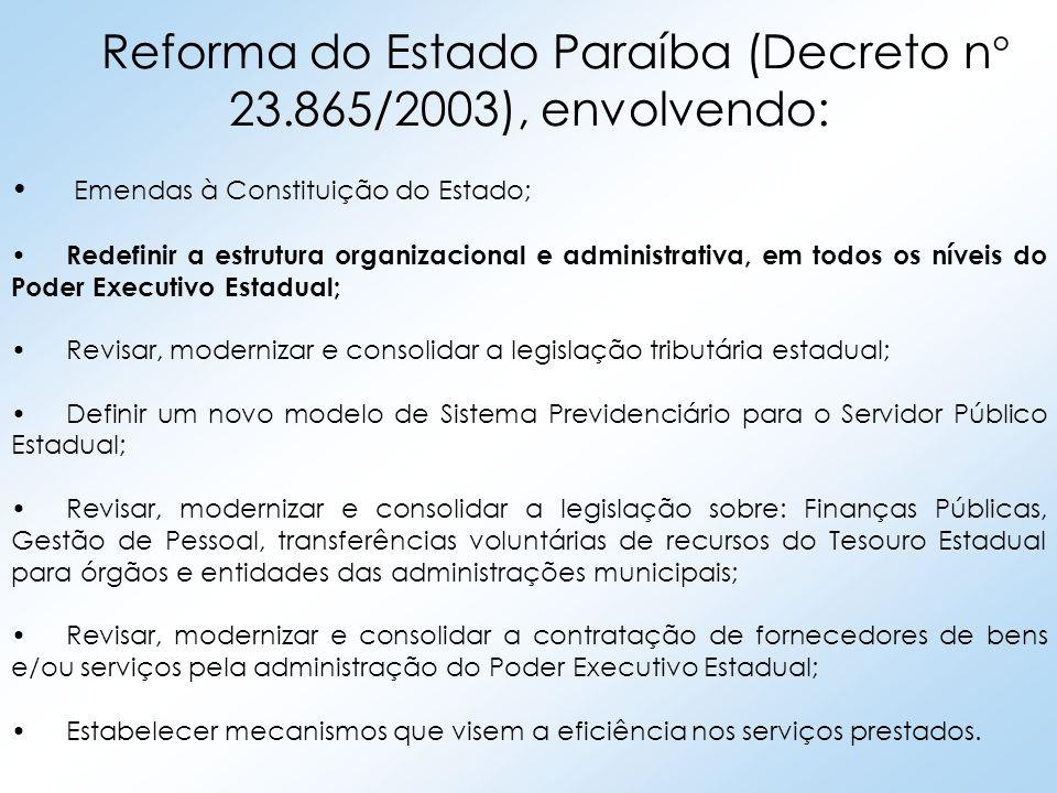 Reforma do Estado Paraíba (Decreto n° 23.865/2003), envolvendo: