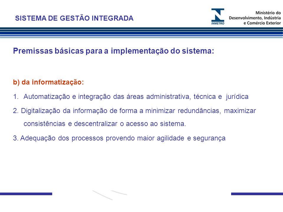 Premissas básicas para a implementação do sistema: