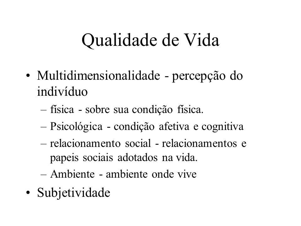Qualidade de Vida Multidimensionalidade - percepção do indivíduo